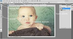 Photoshop background into photo simply by taking a photo of scrapbook paper and layering the images.