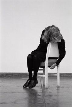 Helena Almeida, A Cadeira Branca, 2013, Black and white photograph, 154 x 104 cm