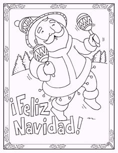 Coloring Pages For Christmas In Spanish. Feliz Navidad Coloring Pages Completed with Lyrics  Spanish Color by Number Christmas Nativity and Pi ata