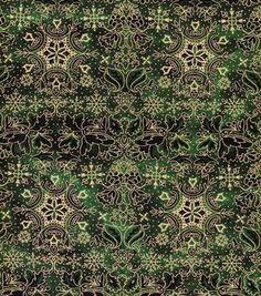 possible stocking fabric Holiday Inspirations Fabric-Christmas Snowflake Stripe Green Metallic