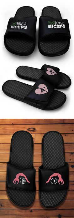 NEW and NOW IN STOCK! Black slide sandals for cheer! Shop now!