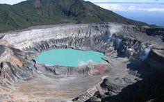 Poás Volcano, Costa Rica - Wikipedia - Caption: Poas volcano crater, shown before the 2017 eruption. Poas volcano Stratovolcano 2708 m ft) Costa Rica, / Current status: restless out of Poas webcams / live data Costa Rica Travel, Cool Places To Visit, Places To Travel, Places To Go, Rafting, Parc National, National Parks, San Jose, 7 Natural Wonders