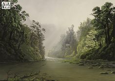 Forest Park, Tree Art, New Zealand, River, Gallery, Artwork, Painting, Outdoor, Beautiful