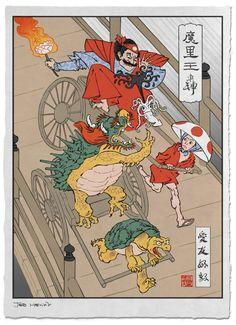 RickshawCart.jpg (724×1000) Jed Henry, Ukiyo-e