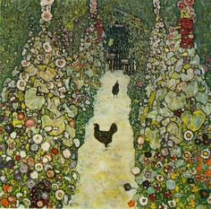 Garden Path with Chickens, Oil by Gustav Klimt (1862-1918, Austria)  @Carissa Dueck you should have this ;)
