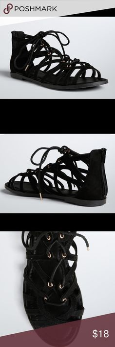 Torrid Black Faux Suede Lace Up Gladiator Sandals Up for grabs is this pair of sandals from Torrid. Up for grabs is this pair of shoes from Torrid. They are a size 11.5W and have flat soles. These sandals are a gladiator style with black faux suede forming a cage over the foot. They lace up the front and have zipper back closure. These sandals are new with the original tag. torrid Shoes Sandals