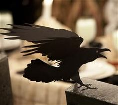 Cricuts Creepy Crow decoration for your Halloween party! I used thie Cricut design to line the fence posts of my driveway.  It is making people jump when they walk by, BOO! Hahahaha       #Cricut