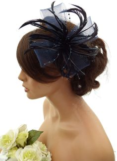 Stunning Navy Blue Feather Net Bow With Pearl Fascinator Hair Clip Corsage