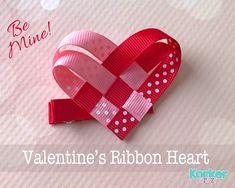 DIY ribbon heart craft