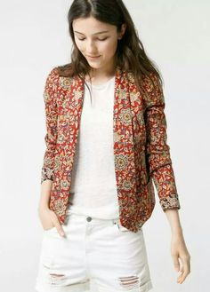 LOVE this amazing blazer from Mango Blazers For Women, Jackets For Women, Clothes For Women, Batik Blazer, Indian Jackets, Ikkat Dresses, Printed Blazer, Indian Designer Outfits, Cotton Jacket