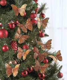 Christmas Holiday Tree Wreath Butterfly Clip Ornaments in Gold Red or Silver   eBay