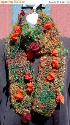 Grand ReOpening Sale Chinese Lantern Hand Knit Scarf from Handspun Art Yarn ~ Stunning! Wool Mohair Bamboo Silk Alpaca Sari Silk Tencel