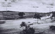 """1939 - Visão da Estrada das Boiadas, (atual avenida Diógenes Ribeiro de Lima, no Alto de Pinheiros) que segue à direita na foto. A esquerda temos o Butantã ao fundo e o que seria a City Pinheiros. Em """"new bridge"""" (nova ponte) temos onde hoje é a ponte do Jaguaré."""
