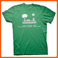 I went Outside Once, The Graphics Weren't That Good - Funny Gamer T-shirt - Kelly Green - Cool and funny shirts (*Amazon Partner-Link)