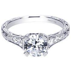 Vintage Inspired 18K White Gold Pave Set Diamond Engagement Ring @ Wedding Day Diamonds