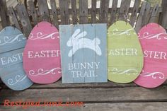 Easter Egg and Bunny Trail signs from scrap wood