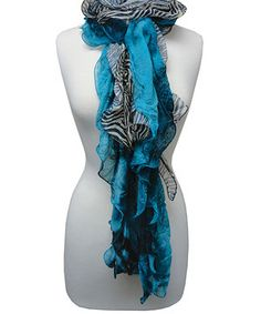 Another great find on #zulily! Turquoise & Black Zebra Ruffle Scarf by The Alabama Girl #zulilyfinds