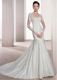 Marvelous Tulle & Lace Strapless Neckline Mermaid Wedding Dress With Beaded Lace Appliques