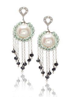 Leslie Danzis Light Green and Black Drop Earrings
