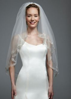 Two Tier Lace Edge Mid Veil - Wedding Accessories by David's Bridal - Loverly