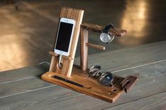 Charging station organizer wood watch stand for men gift for husband anniversary wood nightstand valet dock station man personalize by WoodShade Recharge Telephone, Wood Phone Holder, Charging Station Organizer, Birthday Gifts For Brother, Dad Birthday, Birthday Bash, Birthday Wishes, Support Telephone, Husband Anniversary