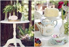 Vintage French Party Table Idea | Another fun vintage tea party table with a french feel