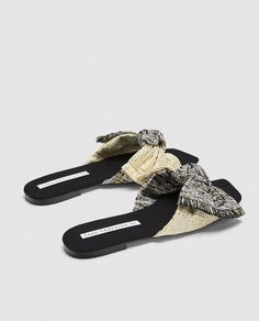 FABRIC SLIDES WITH BOW-Flat sandals-SHOES-WOMAN | ZARA United States