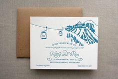 Colorado wedding. Custom wedding invite #letterpress #wedding #invitation #blue