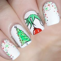 This Grinch inspired nail art. This Grinch inspired nail art.,Makeup and Nails This Grinch inspired nail art. Christmas Gel Nails, Christmas Nail Art Designs, Holiday Nails, Christmas Makeup, Diy Nails, Cute Nails, Pretty Nails, Beautiful Nail Art, Gorgeous Nails