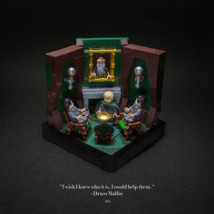 """""""The Slytherin common room was a long, low underground room with rough stone walls and ceiling, from which round, greenish lamps were hanging on chains. A fire was crackling under an elaborately carved mantelpiece ahead of them, and several Slytherins were silhouetted around it in carved chairs. 'Wait here,' said Malfoy to Harry and Ron, motioning them to a pair of empty chairs set back from the fire."""" Harry Potter and the Chamber of Secrets, Chapter 12      ─────────────────────────────…"""