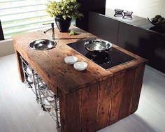 isola cucina rustica industrial-dwellbeautiful com