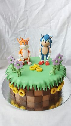 Sonic the hedgehog and Tails the Fox cake Sonic Birthday Cake, Sonic Birthday Parties, 7th Birthday, Birthday Cakes, Bolo Sonic, Sonic Cake, Tails Sonic The Hedgehog, Fox Cake, Baked Goods