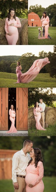 Knoxville Photographer | Country Chic Farm Maternity Session.  Rustic maternity pictures with beautiful red barn in Knoxville, TN