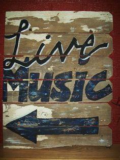 Old pallet, paint, sandpaper....make it look like a vintage sign