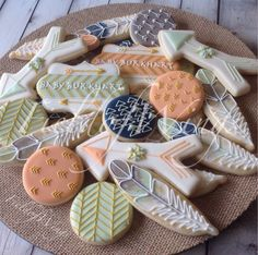 Bohemian Baby Shower sugar cookies #fieldofwings