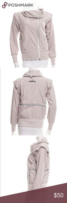 """Stella McCartney x Adidas Sports Jacket - S Mauve Stella McCartney for Adidas long sleeve lightweight jacket with cowl neckline, dual slit pockets at waist and zip closure at front. Designer size 32.  Waist: 37"""" Length: 23"""" Sleeve: 30.5"""" Shoulder: 16.5"""" Bust: 37""""  Condition: Very Good. Light wear throughout. Fabric: 100% Polyester; Body Insert 100% Polyester Designer: Stella McCartney for Adidas Adidas by Stella McCartney Jackets & Coats"""