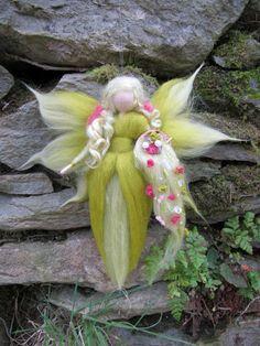 February,  Needle Felted Wool fairy, Nature fairy, Waldorf inspired fairy doll. €16.00, via Etsy.