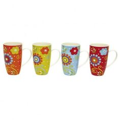 Fun and whimsical, the Flower Power Mug Set from Maxwell & Williams™ features an art deco floral design in bold colors. Perfect for morning coffee, tea or hot chocolate, this mug set boasts a retro shape and ample handle. Coffee Shop, Coffee Cups, Tea Cups, Rustic Bakery, My Cup Of Tea, Cute Mugs, Personalized Mugs, Mugs Set, Kitchen And Bath