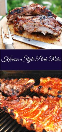 These Korean style ribs can be made with a sweet and savory marinade or a spicy marinade! The ribs will be a nice change from usual BBQ sauce version. Korean Bbq Ribs, Asian Ribs, Asian Pork, Korean Baby Back Ribs Recipe, Asian Style Ribs Recipe, Korean Style Ribs, Asian Chicken, Chicken Dips, Pork Rib Marinade