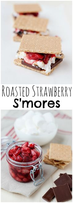 This roasted strawberry s'mores recipe is perfect year round. Juicy, sweet strawberries sandwiched with chocolate and gooey marshmallow...you can't resist!