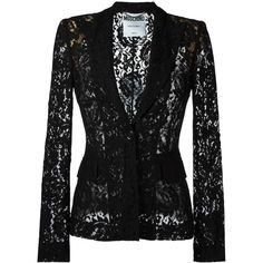 Moschino Lace Jacket ($1,425) ❤ liked on Polyvore featuring outerwear, jackets, black, peaked lapel blazer, moschino jacket, moschino, blazer jacket and long sleeve blazer