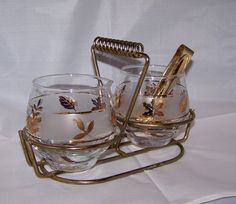 vintage classic glass sugar and creamer with tongs by intimespast, $14.00