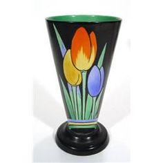 Conical Shelley Art Deco vase hand painted with tulips onto a black ground, printed factory mark
