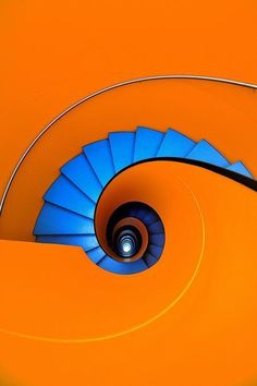 "Blue as an orange by Eric ""Kala"" Forey on spiral staircase escalera de caracol Take The Stairs, Orange Aesthetic, Stair Steps, Complimentary Colors, Bold Colors, Stairway To Heaven, Stairways, Color Inspiration, Bunt"
