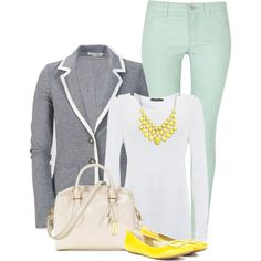 Gray, mint and yellow outfit