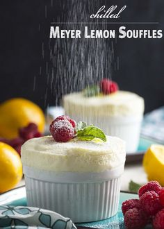 Meyer lemons give these chilled lemon souffles a sweeter, rather floral flavor which is just right for this elegant, make-ahead dessert. Serve them in small ramekins so the souffle climbs over the rims or in parfait glasses with whipped cream. | justalittlebitofbacon.com