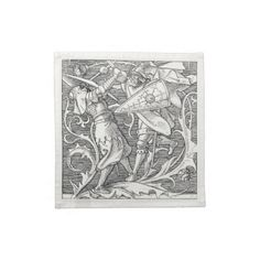 Dinner Napkins - Medieval Knights Cloth napkins – set of 4. Beautiful cotton napkins decorated with a vintage image of two knights...