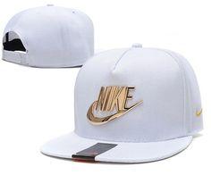 Mens Nike The Classic Nike Iron Gold Metal Logo A-Frame USA 2016 Best Quality Fashion Leisure Snapback Cap - White
