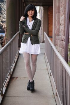 JennifHsieh #Outfit | Olive Green Cardigan, White Collared Dress, White Patterned Tights, Blowfish Booties