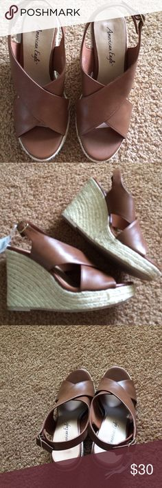 platforms/ brand new with tag nice platforms sandals/ brown color suitable for any outfit you wear from skirt , pants to shorts! American Eagle Shoes Platforms